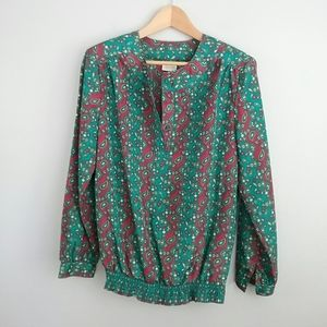 Pykettes Vintage Boho Red & Green Paisley Top